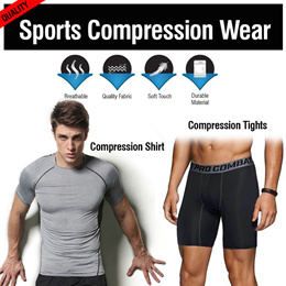 ♥COMPRESSION T-Shirt/TIGHTS♥ GYM Cycling Quick Dry Comfortable Cooling|tee|Sports|Jogging