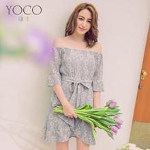 YOCO - Laced Tie Frill Hem Dress-180659