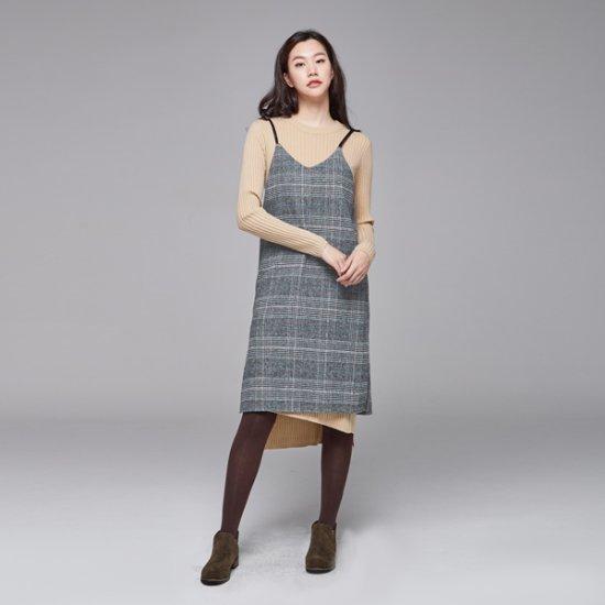 ナインNAINチェックブィスティにワンピースOP3177 面ワンピース/ 韓国ファッション