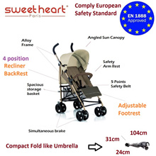 Free Delivery Sweet Heart Paris VALENCIA Alloy Frame Stroller - European safety std