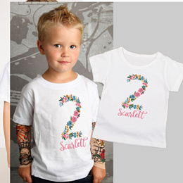 Personalized Tee 2nd Birthday Boho Birthday Girl 2nd Birthday Gift Toddler Girl Kids Boys Girls  Shi