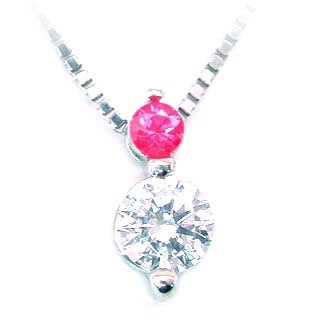 [S$1,248.89]Ruby (July birthstone) Pt ruby necklace _ Giff easy packing;