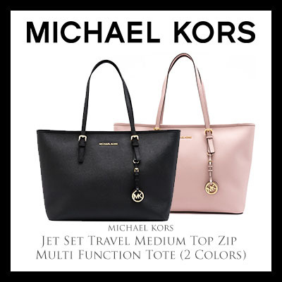 0f36707ebfb2 Michael Kors Jet Set Travel Medium Top Zip Multi Function Tote (Available  In 2 Colors