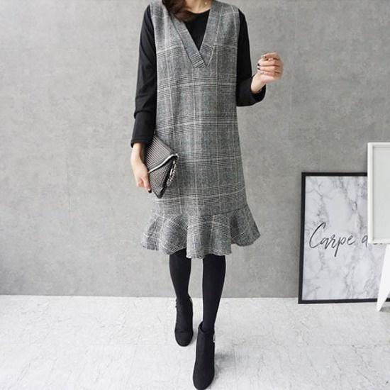 モニカルーム魔女チェックsetセット 綿ワンピース/ 韓国ファッション