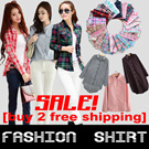SS89South Korean popular checked shirt! Long sleeved shirt/ tops/ladies fashion/ Plaid Shirt /long sleeve /cap self-cultivation shirt /coat/shirt/student shirt/lace shirt