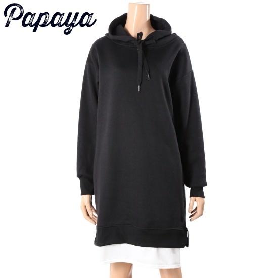 パパイヤフード起毛ワンピースCNHROP023D 面ワンピース/ 韓国ファッション