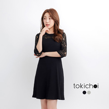 TOKICHOI - 3/4 Sleeve Dress with Lace Panelling-170292