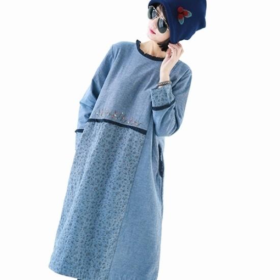 ハッパオフショルダー・フレアワンピースSD6374 綿ワンピース/ 韓国ファッション