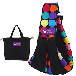 GOMAMA Baby sling One Size Wrap Carrier With Bags Fits to Newborn Baby (Black Colorful)