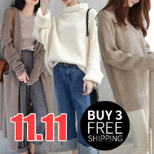 【BUY FREE 3 SHIPPING】Winter Sweater Thermal Jacket*Korean version of womens sweaters simple dress pa