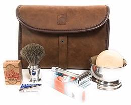 GBS Merkur Deluxe Travel Dopp Kit - #23001 Double Edge Safety Razor, Chrome Shaving Brush, Bowl, Soa