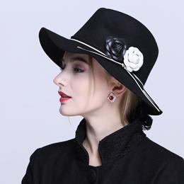 COUPON  100%Wool Women s Winter Auturmn Floppy Brim Fedora Hat For Elegant  Laday Jazz Church 6209b691cfe4