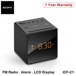 Sony ICF-C1 Portable FM Radio Tuner Clock Alarm LED Display Local 12 Months Warranty