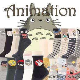Made IN Korea Animation Movie Character Totoro Crew Socks Women Men Flat Price Pack of 3~5 Pair