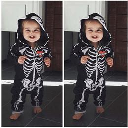 Skeleton Romper Long Sleeve Jumpsuit Jump Suit  Halloween Costume Clothes Clothing Kids Children