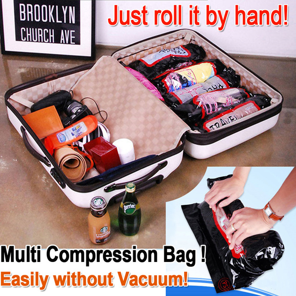 [Premium Quality] Muti Compression Bag?Easily without vacuum!?Just Roll it by Hand!/ Travel Pack/ Hand roll seal bag/Clothes Band?Easy Find?Cleanup Space/Clothes Smart storage Deals for only RM7 instead of RM7
