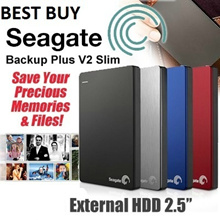 Best Price SEAGATE! 2TB / 1TB / 3TB SeaGate Backup Plus V2 Slim USB 3.0 External HDD 2.5 Inch.The Slimmest Portable Hard Disk in the Market. 3 Years International Warranty.