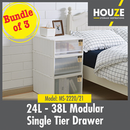 BACK IN STOCK ♦ BUNDLE OF 3 ♦ 24L Modular Single Tier Drawer ♦ Stackable ♦