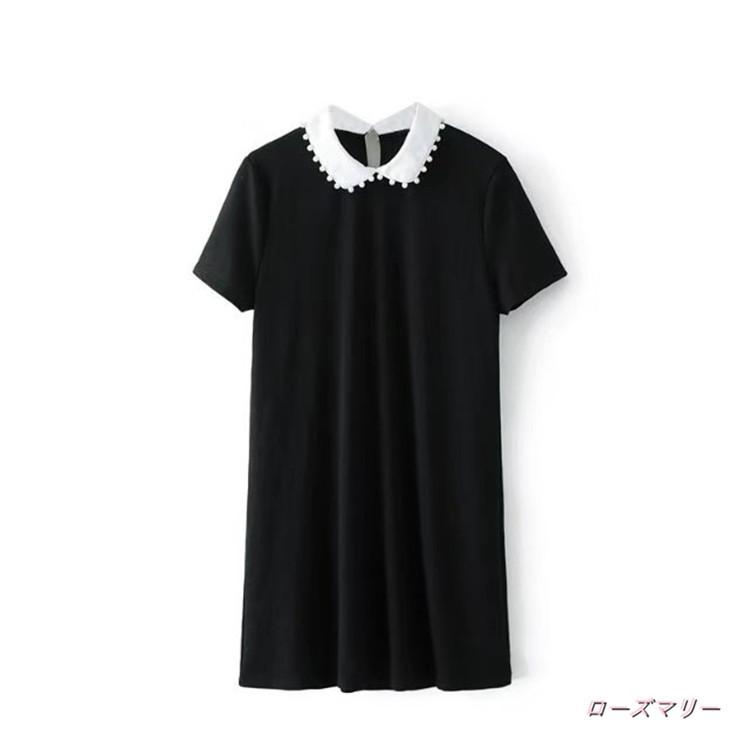【ローズマリー】真珠ネックワンピースの短いスカート かわいい フィットスタイル  ベーシック 大人気-QQ3073