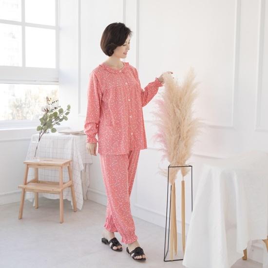 マダム4060ママの服捺染フリルホームウェア上下セットXHW711002 塔/袖なしのワンピース/ 韓国ファッション