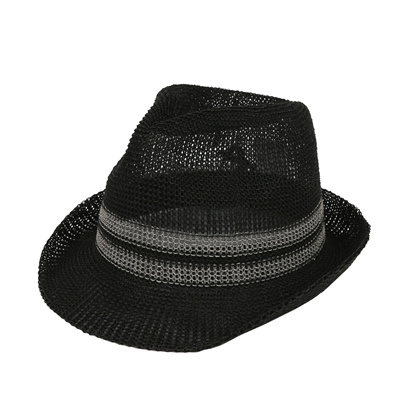 WITHMOONS Straw Mesh Fedora Sun Hat Summer Trilby Banded for Men Women CR61184