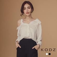 KODZ - One Side Open Shoulder Long Sleeve Shirt-181705-Winter