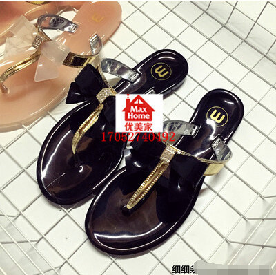 5120bed87e497 Korean small fragrant wind crystal bow flower flip flops sandals women  jelly sandals
