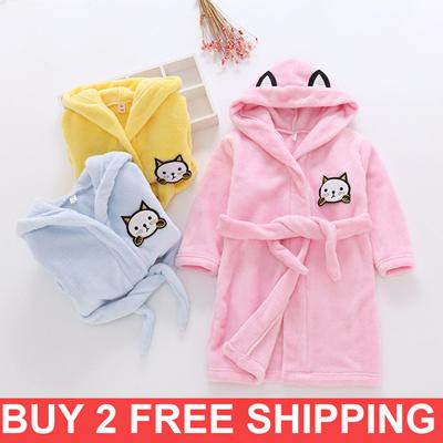 13f6555a8e Kids Bathrobe  flannel sleepwear cartoon pajamas boy sleepwear girl bathrobe  children