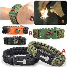 4 in 1 Flint Fire Starter WhistleOutdoor Camping Survival Gear Buckle Travel Kit EquipmentParacord Rescue Rope Escape Bracelet
