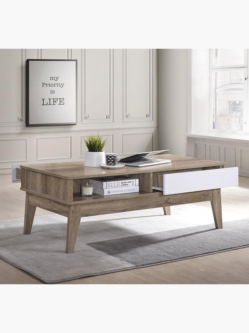 Qoo10 Scandinavian 2 Drawers Coffee Table Living Room