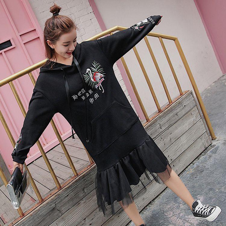 ピンク、ブラック チュールドッキング 刺繡入り フード付きパーカーワンピース チュニックワンピース カジュアル ゆったり レディース  アウター  おしゃれなコート 韓国ファッション