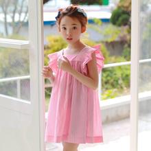 Childrens Garment Summer Girl Baby Feifei Sleeve Strips Grain Dress New
