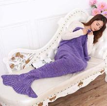 195*95CM Adult Mermaid Tail Blanket Knitted Handmade Blanket Crochet Throw Bed Wrap Top Quality Blan