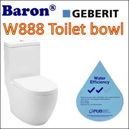 Baron W888 1 piece toilet bowl with Geberit Flushing/ Soft Closing Seat