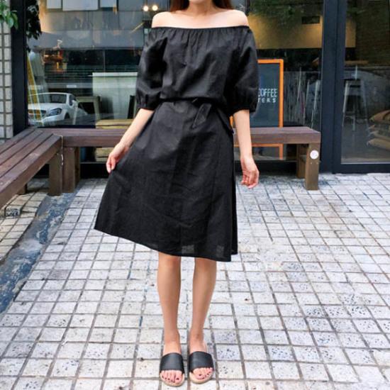 あっかんべーショップリンネン腰紐ワンピース 綿ワンピース/ 韓国ファッション