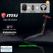 IT Fair 2018 - MSI GS63 7RD (Stealth) - 241SG EXCLUSIVE ( i7-7700HQ / GeForce® GTX 1050 2GB GDDR5 / 8GB DDR4 RAM / 128 GB SSD + 1TB / Win10 ). 2 Year Warranty. Free Backpack,Gaming Mouse + Headset!