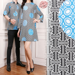 SB Collection Couple Atasan Tunik Alexa Blouse Dan Kemeja Batik Pria