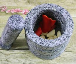 Natural stone household mortar pounding garlic garlic smashed garlic mashed pot pressure manual stir