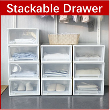 CW*Stackable Drawer Box Cabinet Movable Portable Wheels Wardrobe Organizer Storage