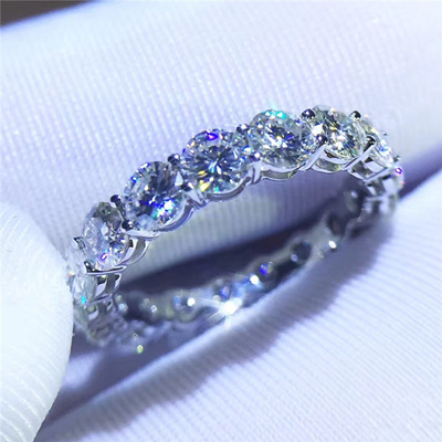 dce855aa2 Fine Jewelry Women Band 925 sterling Silver ring 3ct Diamonique 5A Zircon  Cz Engagement Wedding
