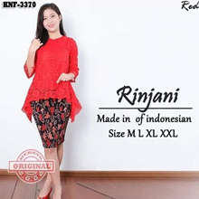 SB Collection Stelan Kebaya Ressa Blouse Brukat And Plisket Skirt Midi Jumbo Batik Woman