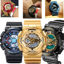Jeans Design Waterproof Dual Time Digital Sports Watch Shock Resistant PU Strap Alarm Men Gift