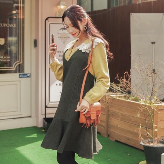 ジェイ・スタイルビックサイズアネホフリルのワンピース 大きいサイズ/ワンピース/韓国ファッション