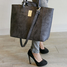 Croc Embossed Large Leather Tote