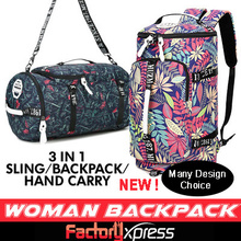 Travelling Woman Backpack 3 IN 1Sling bag / Handcarry/ TOP DESIGN! FLORA NATURE HIT! BAG Local selle