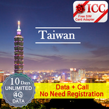 ◆ ICC◆【台灣Taiwan·5 /7/10/15 Days 】Unlimited 4GLTE Data+Free Incoming call(5/7/10Days)+Call