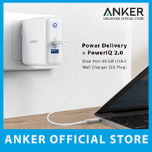 [Power Delivery + PowerIQ 2.0] Anker PowerPort II 49.5W 2 Port USB-C Wall Charger Fast Delivery