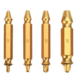 Drillpro 4Pcs Double Side Damaged Screw Bolt Extractor Drill Bits Gold Oxide Edition Stripped Screw