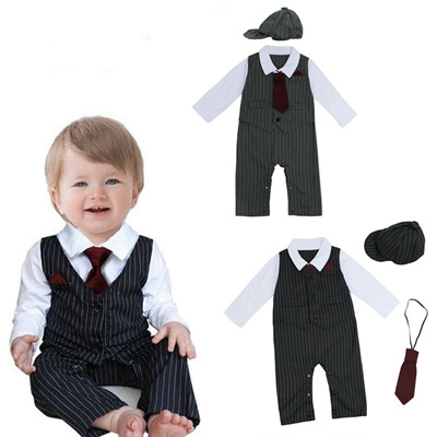 bb8cd38dd415 Baby Boy Wedding Formal Dressy Tuxedo Suit Striped Romper Outfit+Hat Set