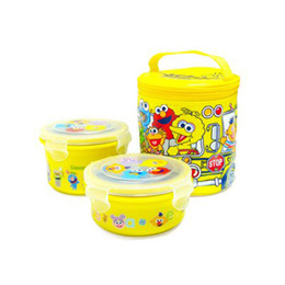 ★Sesame Street School Bus 2 Tier Stainless Round Lunch Box ★ School Bus Lunchbox (Qxpress / Sweety)